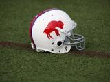 Bills Camp Football: Pittsford, NY - A Buffalo Bills Throwback Helmet Fotografisk trykk av David Duprey