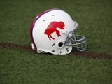 Bills Camp Football: Pittsford, NY - A Buffalo Bills Throwback Helmet Photographic Print by David Duprey