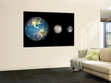Artist's Concept of the Earth, Mercury, and Earth's Moon to Scale Wall Mural by  Stocktrek Images