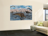 Omeisaurus and Parasaurolphus Dinosaurs Gather Together Wall Mural by Stocktrek Images 