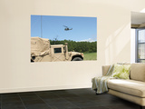 A Uh-1N Helicopter Flies over the Marine Air Support Squadron Compound Wall Mural by  Stocktrek Images