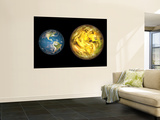 Illustration Comparing the Size of Extrasolar Planet Gliese 581 C with That of the Earth Wall Mural by  Stocktrek Images