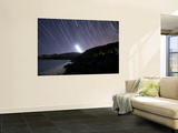 Moonset and Star Trails Behind the Arrábida Mountain Range in Portugal Wall Mural by  Stocktrek Images