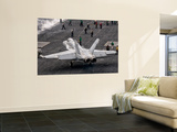 A Us Navy F/A-18C Hornet on the Flight Deck of Aircraft Carrier Uss Eisenhower Wall Mural by  Stocktrek Images