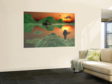 An Astronaut Explorer Amongst a World of Mystery and Ice Green Mountains Wall Mural by  Stocktrek Images