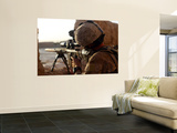 U.S. Marine Looks Through the Scope of His M16A4 Rifle for Enemy Forces Wall Mural by  Stocktrek Images