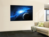 A Paradise World with a Huge City Looks Out on a Beautiful Nebula Wall Mural by  Stocktrek Images