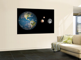 Artist's Concept of the Earth, Pluto, Charon, and Earth's Moon to Scale Wall Mural by  Stocktrek Images
