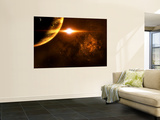 A Star Going Critical Illuminates a Nearby Planet and Nebula Wall Mural by  Stocktrek Images