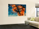 World War Ii Aerial Combat Between American P-51 Mustang and German Focke-Wulf 190 Fighter Planes Wall Mural by Stocktrek Images