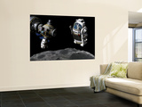 A Manned Maneuvering Vehicle Prepares to Descend to the Surface of a Small Asteroid Wall Mural by  Stocktrek Images