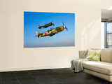 A Soviet Yakovlev Yak-3 and a P-51A Mustang in Flight Wall Mural by  Stocktrek Images