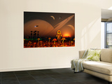 A Futuristic Outpost on the Moon of a Distant Alien World Wall Mural by  Stocktrek Images
