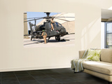 British Soldiers Perform Maintenance on an Apache Helicopter Wall Mural by  Stocktrek Images