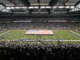 Packers Lions Football: Detroit, MI - Ford Field Fotografisk trykk av Tony Ding