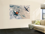 B-17 Flying Fortress Bombers Encounter German Focke-Wulf 190 Fighter Planes Wall Mural by  Stocktrek Images