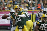 Lions Packers Football: Green Bay, WI - Aaron Rodgers Photographic Print by Mike Roemer