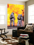Firefighters Extinguish an Aircraft Fire During a Training Exercise Wall Mural by  Stocktrek Images