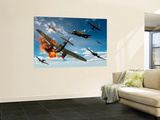 British Hawker Hurricane Aircraft Attack a German Heinkel He 11 Bomber Wall Mural by  Stocktrek Images