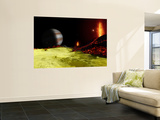 Volcanic Activity on Jupiter's Moon Io, with the Planet Jupiter Visible on the Horizon Wall Mural by  Stocktrek Images