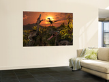 A Group of Feathered Carnivorous Velociraptors from the Cretaceous Period on Earth Wall Mural by  Stocktrek Images