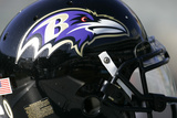 Ravens Raiders Football: Oakland, CA - A Baltimore Ravens Helmet Prints by Marcio Jose Sanchez