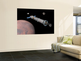 The Phobos Mission Rocket Prepares for Approach to the Martian Moon Wall Mural by  Stocktrek Images