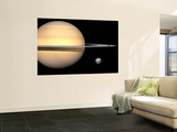 Illustration of Saturn and Earth to Scale Wall Mural by  Stocktrek Images