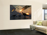 Hadrosaurs Graze Peacefully as Burning Meteors Fall Through the Sky Wall Mural by  Stocktrek Images