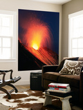 Strombolian Eruption of Stromboli Volcano, Aeolian Islands, Mediterranian Sea, Italy Wall Mural by  Stocktrek Images
