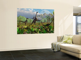 Velociraptor Dinosaurs Attack a Camarasaurus for their Next Meal Premium Wall Mural by  Stocktrek Images