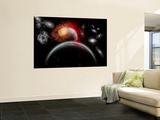 Artist's Concept of Cosmic Contrast in the Night Sky Wall Mural by  Stocktrek Images