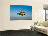 A P-36 Kingcobra, Two Curtiss P-40N Warhawks, and a P-51D Mustang in Flight Wall Mural by  Stocktrek Images