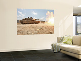 Marines Bombard Through a Live Fire Range Using M1A1 Abrams Tanks Wall Mural by Stocktrek Images