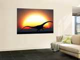 A Silhouetted Diplodocus Dinosaur Takes at the Start of a Prehistoric Day Wall Mural by  Stocktrek Images