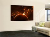 Artist's Concept of an Extraterrestrial World and its Various Moons Wall Mural by  Stocktrek Images