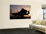 Silhouette of a Us Navy F/A-18E Super Hornet on the Flight Deck of Uss Nimitz Wall Mural by  Stocktrek Images