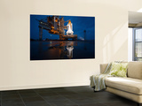 Night View of Space Shuttle Atlantis on the Launch Pad at Kennedy Space Center, Florida Premium Wall Mural by  Stocktrek Images