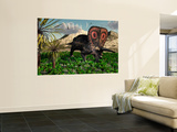 A Lone Torosaurus Dinosaur Feeding on Plants Wall Mural by  Stocktrek Images