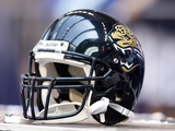 Jaguars Colts Football: Indianapolis, IN - A Jacksonville Jaguars Helmet Photographic Print by Michael Conroy