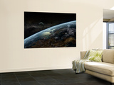 A Space Station Orbits a Hypothetical Planet Wall Mural by  Stocktrek Images
