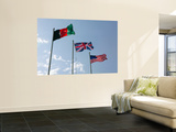 The Union Flag of the United Kingdom Between the Afghanistan and United States Flags Wall Mural by  Stocktrek Images