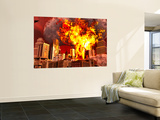 A 3D Conceptual Image of a Stealth Bomber Nuking a City Wall Mural by Stocktrek Images