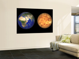 Artist's Concept Showing Earth and Venus Without their Atmospheres Wall Mural by  Stocktrek Images