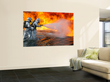 An Aircraft Rescue Firefighting Team Attempts to Spray Out a Fuel Fire Wall Mural by  Stocktrek Images