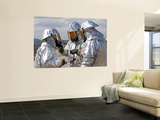 Aircraft Rescue Firefighter Marines Look over Each Other'S Bunker Suits Wall Mural by  Stocktrek Images