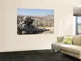 U.S Army Soldier Scans His Sector of Fire with His M14 Rifle in Afghanistan Wall Mural by Stocktrek Images