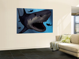 A Megalodon Shark from the Cenozoic Era Wall Mural by  Stocktrek Images