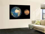 Artist's Concept Comparing the Size of Mars with That of the Earth Wall Mural by  Stocktrek Images