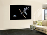 Artist's Concept of the Deep Space Vehicle Mated with an Extended Stay Module Wall Mural by  Stocktrek Images